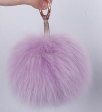 Stylish and Colorful 100% Real Fox Fur Pom Pom Balls keychain