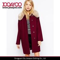Women Ladies Winter Warm Faux Fur Collar Long Red Outwear Jacket Coat