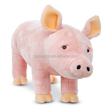 custom pink plush pig sitting plush animal toys