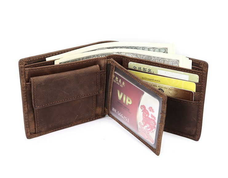 OEMPROMO Wholesale genuine crazy horse leather credit card holder wallet for men