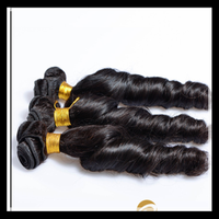Hot selling wholesale 8a 7a 6a 5a grade remy full cuticle double drawn natural color virgin indian spring curl hair weave