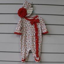 cotton lace baby romper set with cap