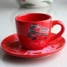 red color coffee tea ceramic cup and sauce