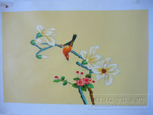 Handmade oriental landscape oil painting,chinese calligraphy