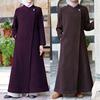 Fancy design long coat wool blend ethnic new muslim front open baju kurung baju kurung malaysia clothing