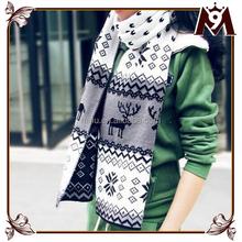 2015 модные зимние мода олень отпечатано як шерстяной шарф