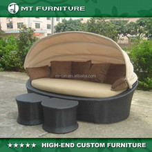 patio hotel fashionable wicker chaise oval lounge outdoor furniture with canopy