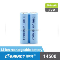 Clyindrical Battery 3.7V ICR 14500 Li-ion Rechargeable Battery 800mAh