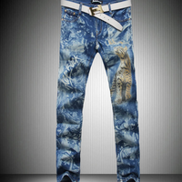 MS70063G 2015 latest designed men's tiger printed skinny funky jeans stock