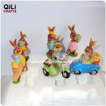 cute honey bunnies playing tricycle Resin Easter rabbit riding bike