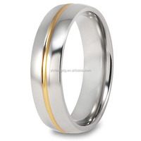 Keepsake Men's Guardian Titanium rings With14k Gold plated Grooved Polished