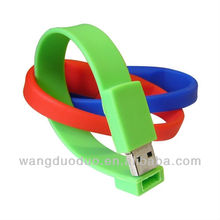 Free sample! 2014 promotional usb pen drive bracelet 1 gb flash drive / cheap wristband brand pen drive / OEM logo printed