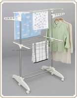 Two layer handy standing clothes display stand for shop