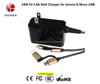 24W 5V 2.1A android wall charger 4in1 Intelligent Wall Charger for Universal Phone and Tablet