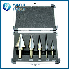 5-Piece HSS Step Drill Cone Drill Bit Set with Metal Case