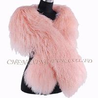 CX-S-178A Pink Color Winter Mongolian Lamb Fur Shawl For Women