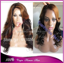 wholesale cheap price 1b/30# highlights virgin brazilian hair loose wave front lace wig with side bangs