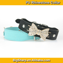 Comfort PU Bling Diamond Bow Tie Necklace Leather Rhinestone Bow Tie Dog Collar Lovely Dog Dressing PC-3015