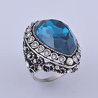 2015 latest popular single big blue neelam stone silver ring for women ladies