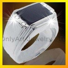 male or female fashion black stone silver rings