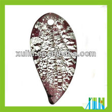 2013 new product pendants foil surface leaf shaped dichroic beads