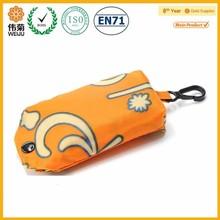 Hot sale orange printed nylon foldable shopping bag