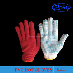 pvc glove machine auto knitting white cotton gloves with pvc dots white cutters gloves for garden work