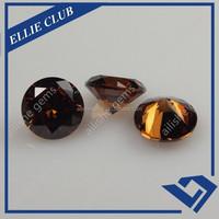 Round machine cut coffee CZ gems cubic zirconia