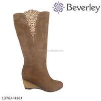 Fashion special design brown cowskin women high heel boot