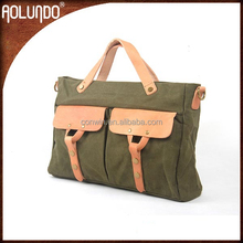 shoulder canvas duffel bag with leather