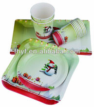 "9"" Disposable Christmas party custom paper plate"