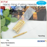 Professional nano ring tools Bamboo Handle Pulling needle threader nano ring loop hair Extensions tool