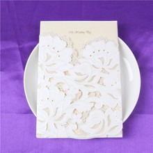 Particular nice-looking cr80 chinese factory cheap invitation card white and flowers