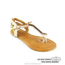 European style hot selling sandal high quality best price sandal T-strap ankle strap sandal