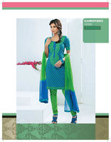 Indian Blue Designer Lace Cotton Salwar kameez