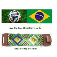 Brazil flag bracelet, boho bracelet, wood beeds bracelet murano glass bracelet