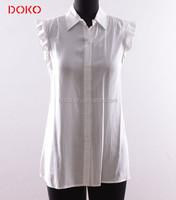 Ruffle women rayon tshirt white office fashion lady stand collar blouse