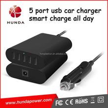 high speed 40w desktop smart LED in-car battery charger usb multi charging station car charger usb 5 port with cigarette lighter