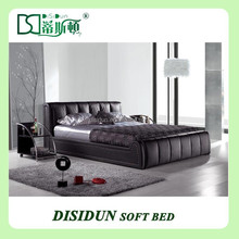 Black Faux Leather Queen Platform Bed For Home DS-1012