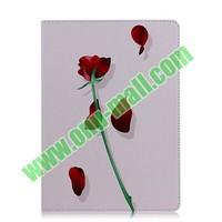 3D Flower Rose Slide Flip Leather Cover for iPad Air
