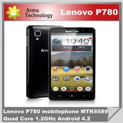 Original Lenovo P780 5.0 inch android phone MTK6589 Quad Core 1.2GHz 4000mAh battery 8.0MP Camera Dual SIM