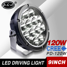 best selling 9 inch 120w round led driving light for Offroad truck jeep wrangler bus boat