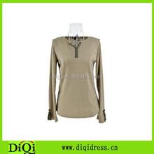 Ladies Womens Long Sleeve Blank Shirt V-Neck Slim Fit T-shirt