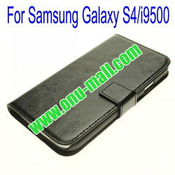 Cool design Genuine Leather Case for Samsung Galaxy S4/i9500 with Card Slots(Black)