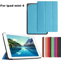 High Quality Ultra Thin PU Leather Smart Cover case for ipad mini4 with Stand