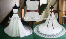Black and White Wedding Dresses Long Big Train Hand-made Lace Beading Wedding Gown 2012