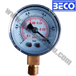 40mm Painted PC case bottom mounting vacuum pressure gauge YZ-40A EN837-1
