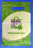 RECYCLE printed die cut bag Cheap Graphie Printed Die Cut Punch Retail Plastic Shopping Bag With die cut cosmetic bag