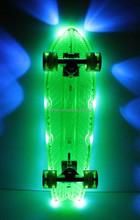 "Penni Style Skate Board PC Clear Skateboard led lights Complete 22"" Retro Cruiser mini longboard With Transparent Wheels"