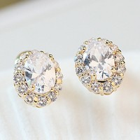 ZINC ALLOY DROP WITH CRYSTAL STONES EARRING by cheap china POST